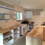 Kitchen with the custom island and Ikea cabinets